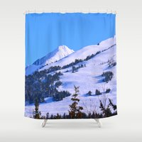 skiing Shower Curtains featuring Back-Country Skiing  - IV by Alaskan Momma Bear