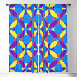 Geometric Floral Circles Vibrant Color Challenge In Bold Red Yellow Purple & Blue Blackout Curtain