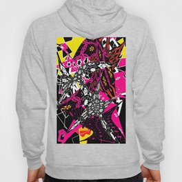 Abstract in callage bright colors and layers of patterns Hoody