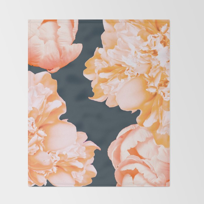 Peach Colored Flowers Dark Background Decor Society40 Buyart Throw Stunning Peach Colored Throw Blanket