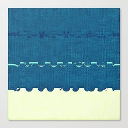 Blue Yellow Abstract Ocean Wave Pattern Canvas Print