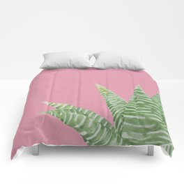 Watercolor Aloe Plant on Pink Comforters