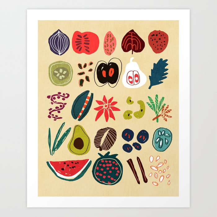 Fruit and Spice Rack Art Print