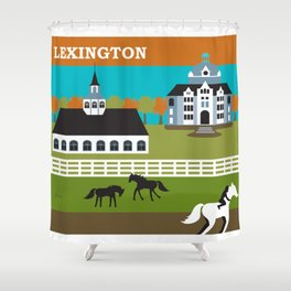 Lexington, Kentucky - Skyline Illustration by Loose Petals Shower Curtain