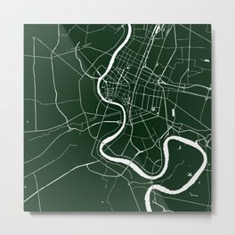 Bangkok Thailand Minimal Street Map - Forest Green and White Metal Print