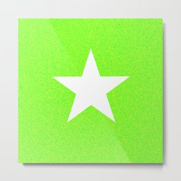white star on green and yellow abstract background Metal Print