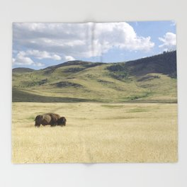 Being Alone is Healthy - Bison on Range Throw Blanket