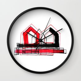 Red Black Houses No.: 01 Wall Clock
