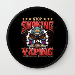 Vape Steamer E Cigarette Saying Vaping Gift Wall Clock