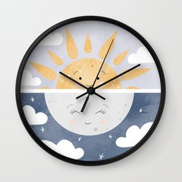 Day and Night Illustration Wall Clock