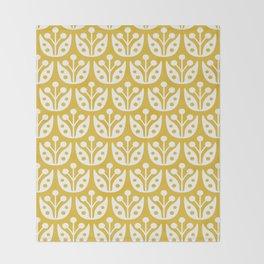 Mid Century Modern Flower Pattern Mustard Yellow Throw Blanket