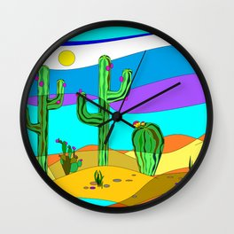 Southwest Desert Scene with Cactus and Sun Wall Clock