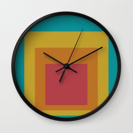 Block Colors - Teal Yellow Red Wall Clock