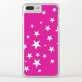 Simple Stars On Pink Art Clear iPhone Case