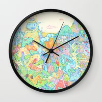 dragons Wall Clocks featuring Dragons by Nick Bright