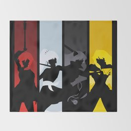 Silhouetted Huntresses Throw Blanket