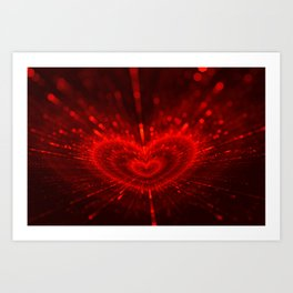 Cupid's Arrows | Valentines Day | Love Red Black Heart Texture Pattern Art Print