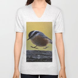 Red Breasted Nuthatch - Hopping Mad Unisex V-Neck