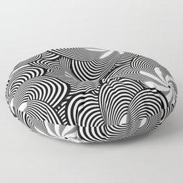 Fun Black and White Flower Pattern - Digital Illustration - Graphic Design Floor Pillow