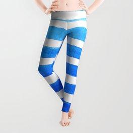 Blue Watercolor Stripes Leggings