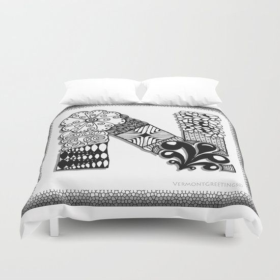 Zentangle N Monogram Alphabet Illustration Duvet Cover