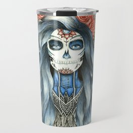 Full Page Day of the Dead Woman Mandala Travel Mug