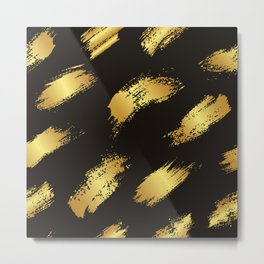 Gold stripes on dark Metal Print
