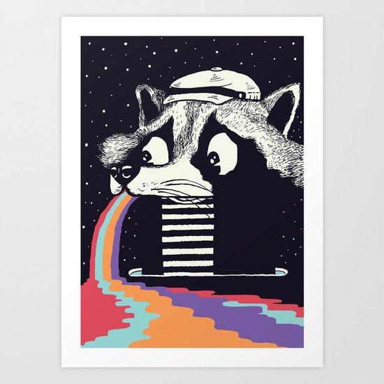 Sick Raccoon  Art Print
