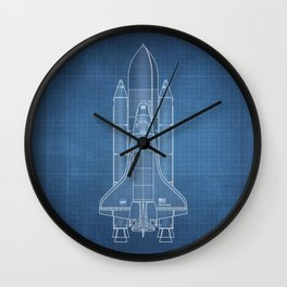 NASA Space Shuttle Blueprint in High Resolution (light blue)  Wall Clock