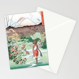 Arrietty Japanese woodblock mashup Stationery Cards