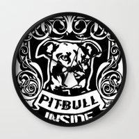 pitbull Wall Clocks featuring pitbull inside by LGT logout graphix design