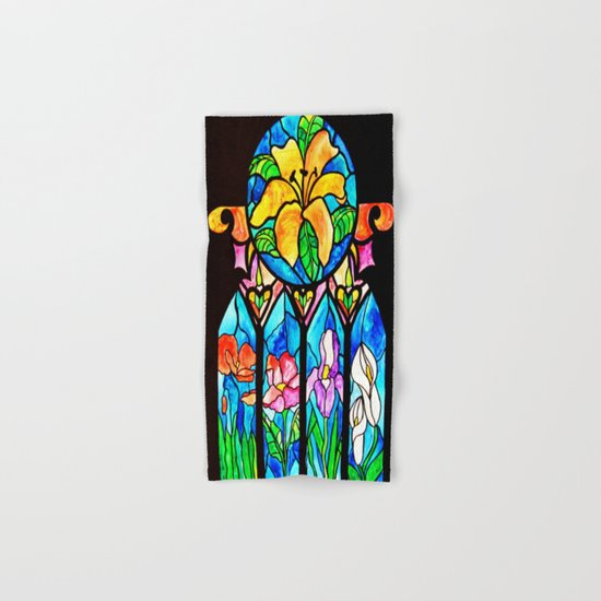 Floral Feelings - Stained Glass Window Series Hand & Bath Towel