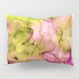 Abstract Ink Pattern Fuchsia and Lime Green Pillow Sham