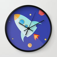 spaceship Wall Clocks featuring Spaceship by Marta Perego