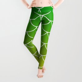 Green/Yellow Fish Scales Leggings