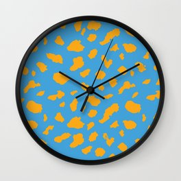 Dalmation print - blue/orange Wall Clock