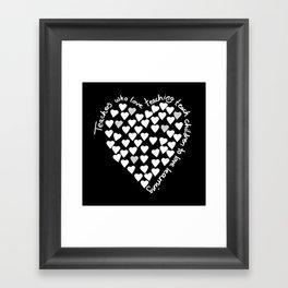 Hearts Heart Teacher White on Black Framed Art Print