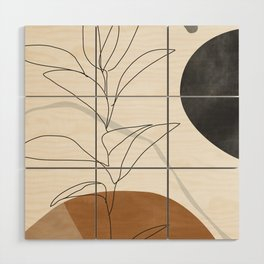 Abstract Art /Minimal Plant Wood Wall Art