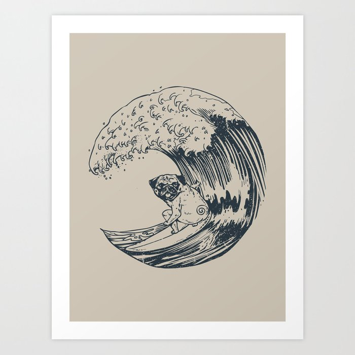 Summer and The Pug Art Print