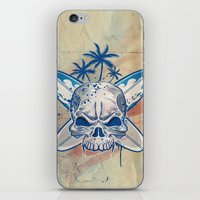 surfboard iPhone & iPod Skins featuring skull on surfboard background by Doomko