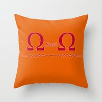 ohm Throw Pillows featuring Ohm Sweet Ohm by Blueshift