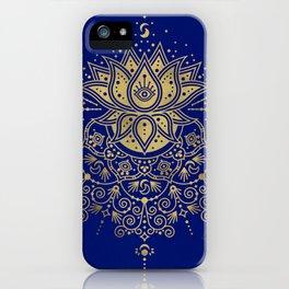 Sacred Lotus Mandala – Navy & Gold Palette iPhone Case