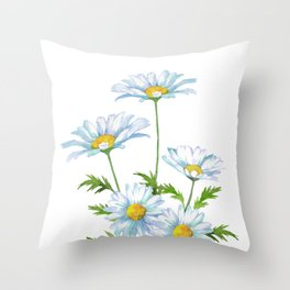 Watercolor Daisy Flower Throw Pillow