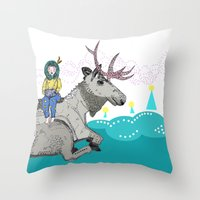 elk Throw Pillows featuring Elk by Anne Augenblick
