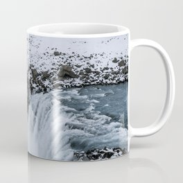 Waterfall in Icelandic highlands during winter with mountain - Landscape Photography Coffee Mug