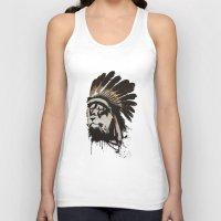 headdress Tank Tops featuring Lion Headdress by Alyn Spiller