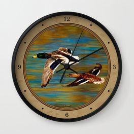 Mallard Ducks in Flight Wall Clock