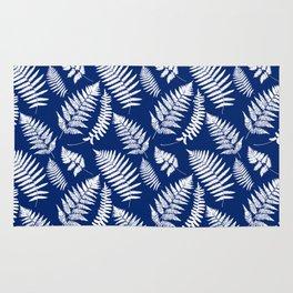 Woodland Fern Pattern, Cobalt Blue and White Rug
