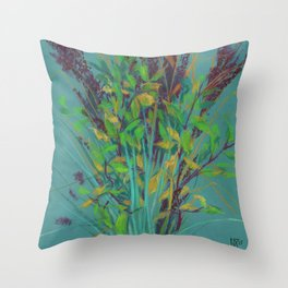 Autumn bouquet on teal background Throw Pillow