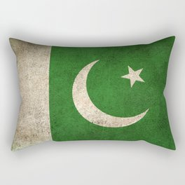 Old and Worn Distressed Vintage Flag of Pakistan Rectangular Pillow